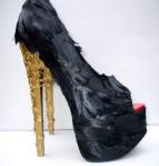 Feather shoes, fjer stiletter