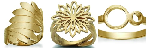 Gold plated ring, leaves, Zöl, statement, circles, flower, danish design