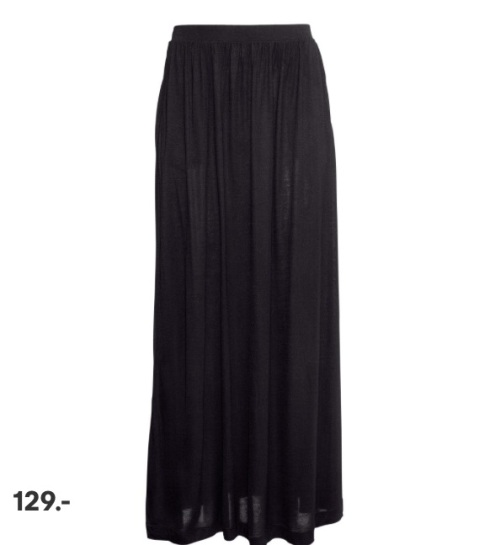 Maxi skirt, nederdel, lang, sort, black, h&m