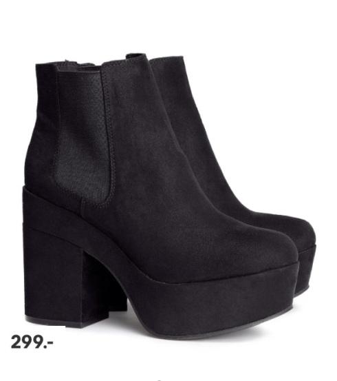 plateau støvler, chunky, shoes, black, sort, h&m