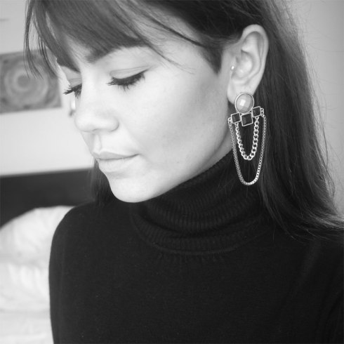 Six, øreringe, earrings, gold, black, statement, fashion, big, clips