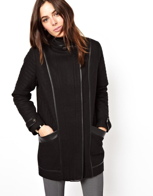 ASOS Quilted Sleeve Biker Coat, vinterjakke, sort