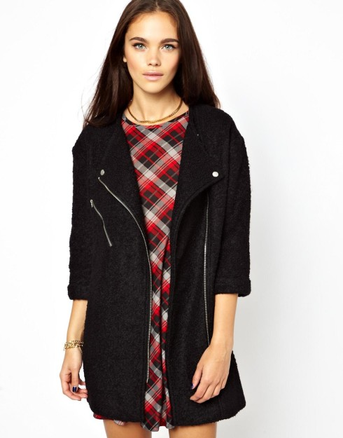 Glamorous Biker Zip Coat In Boucle