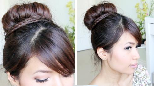 Hair updo, bun, knold, fletning