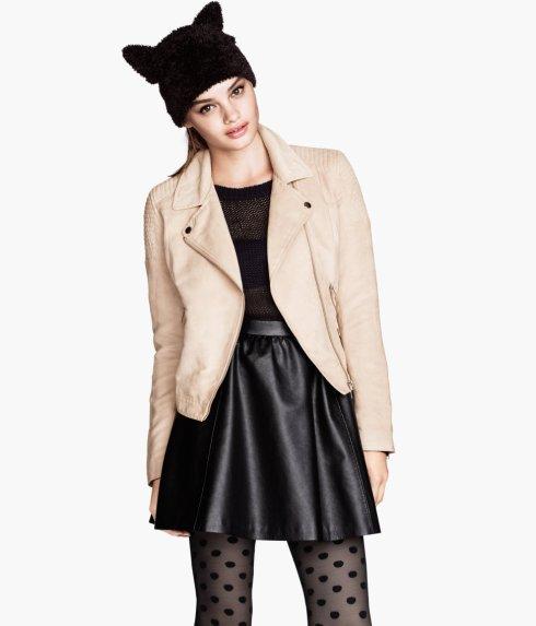 hm, biker, jacket, beige, PU leather, jakke, læder