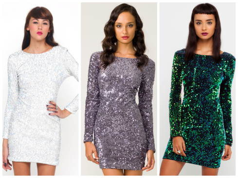 MOTEL DELUXE GABBY SEQUIN PLUNGE BACK DRESS IN IRIDESCENT GREEN, PLUNGE BACK DRESS IN WHITE DISCO SEQUIN, Gabby Sequin Plunge Back Dress in Charcoal