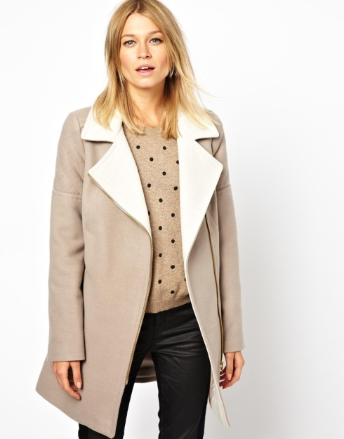 Oasis Two Tone Biker Coat, frakke, beige