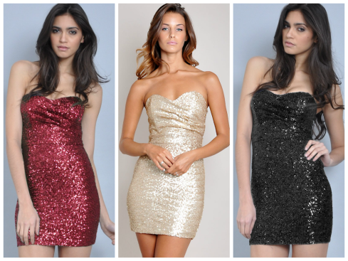 TFNC Sophie Sequin Dress, red, gold, black