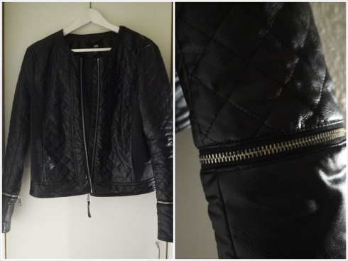 Leather jacket, læderjakke, imiteret, H&M, biker, quilted