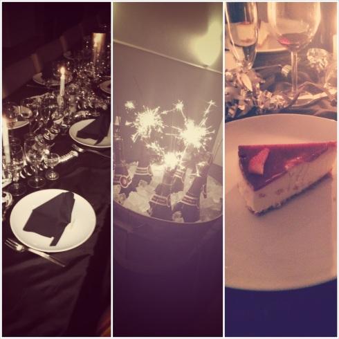 Nytårs bord, champagne, strawberry, jordbær, cheese cake