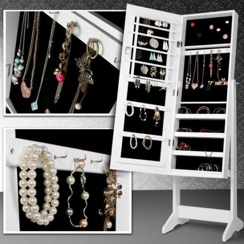 smykkeskab med spejl, smykke opbevaring