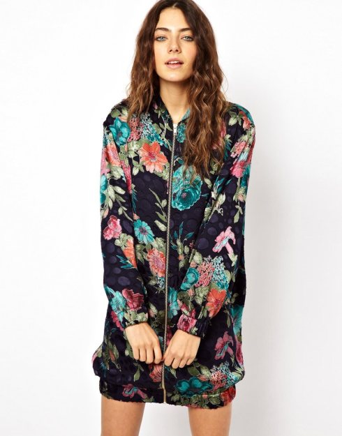 ASOS Bomber Dress With Floral Burnout