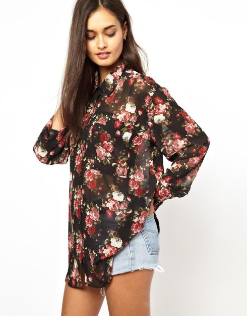 Glamorous Oversize Shirt in Oversize Floral