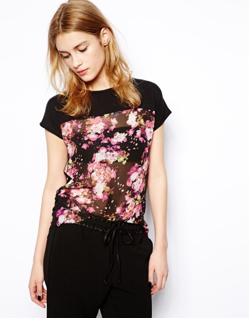 New Look Floral Chiffon Front Tee