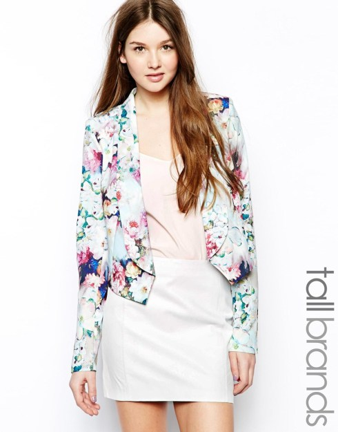 Paper Dolls Tall Floral Cropped Jacket