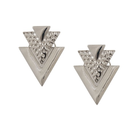 SIX accessories, plating mix collection, øreringe, earrings, sølv, billige smykker, trekanter, triangles