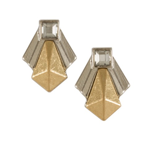 SIX accessories, plating mix collection, øreringe, earrings, two-tone, silver, sølv, guld, gold, billige smykker, trekanter, triangles, mode, fashion