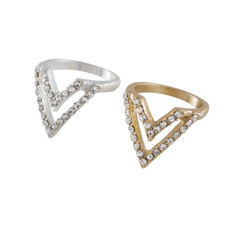 SIX accessories, plating mix collection, fingerledsring, silver, sølv, guld, gold, billige smykker, trekanter, triangles, mode, fashion