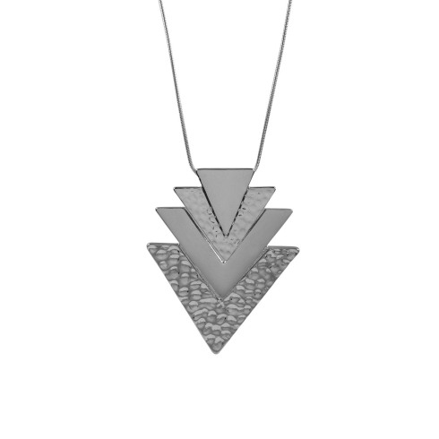 SIX accessories, plating mix collection, halskæde, necklace, sølv, billige smykker, trekanter, triangles, mode, fashion