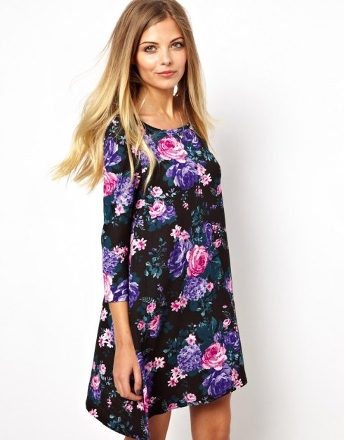 Vero Moda Dark Floral Babydoll Dress