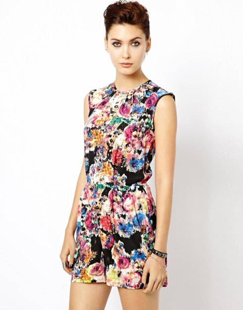 Warehouse Blurred Floral Playsuit